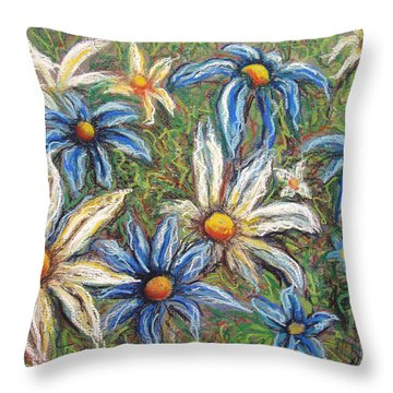 Daisies Pastel Throw Pillow by Nancy Mueller