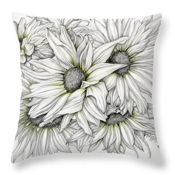 Sunflowers Pencil Throw Pillow