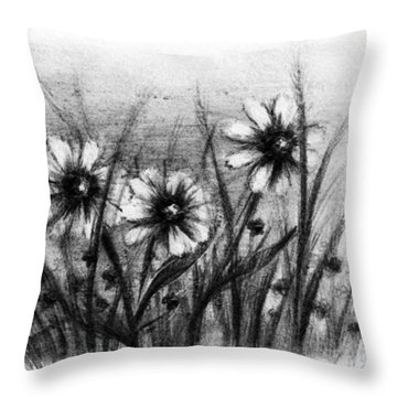 Daisies Throw Pillow by Rachel Christine Nowicki