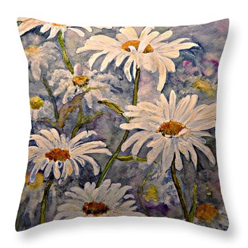 Daisies Watercolor Throw Pillow by AmaS Art