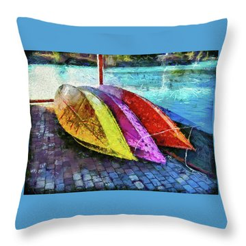 Throw Pillow featuring the photograph Daisy And The Rowboats by Thom Zehrfeld