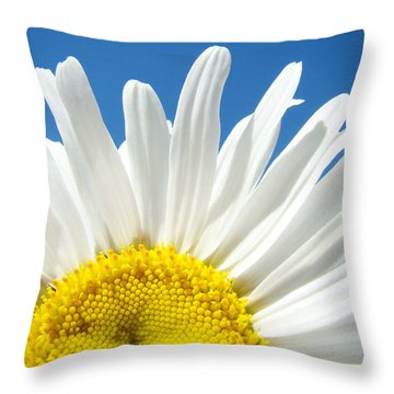 Daisy Art Prints White Daisies Flowers Blue Sky Throw Pillow by Baslee Troutman