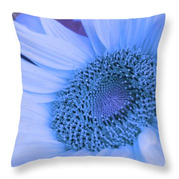Daisy Blue Throw Pillow by Marie Leslie