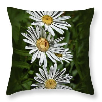 Daisy Chain Throw Pillow by Marie Leslie