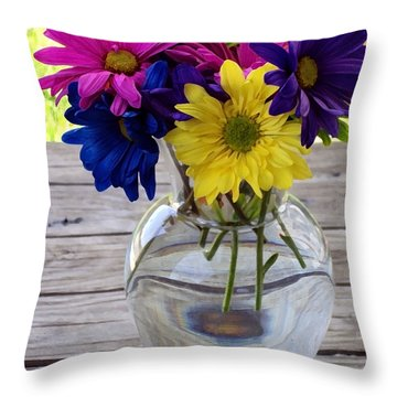 Daisy Crazy Throw Pillow by Angelina Vick