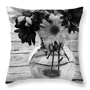 Daisy Crazy Bw Throw Pillow by Angelina Vick