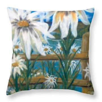 Throw Pillow featuring the painting Daisy Dance by Saundra Johnson
