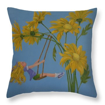 Throw Pillow featuring the painting Daisy Days by Karen Ilari