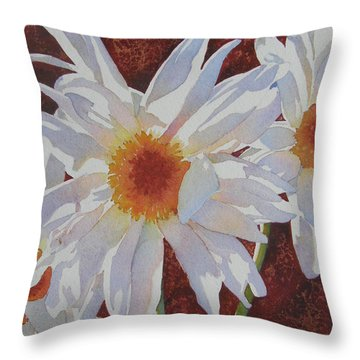 Throw Pillow featuring the painting Daisy Dazzle by Judy Mercer