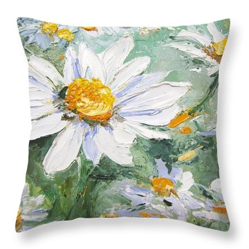 Daisy Delight Palette Knife Painting Throw Pillow