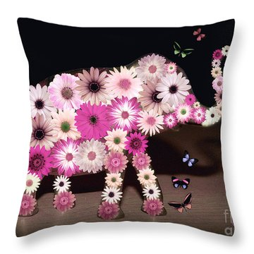 Daisy Elephant Throw Pillow by Donna Bentley