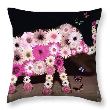Daisy Elephant Throw Pillow