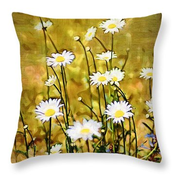 Throw Pillow featuring the photograph Daisy Field by Donna Bentley