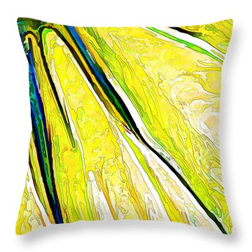 Daisy Petal Abstract In Lemon-lime Throw Pillow