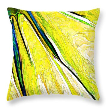 Daisy Petal Abstract In Lemon-lime Throw Pillow by ABeautifulSky Photography