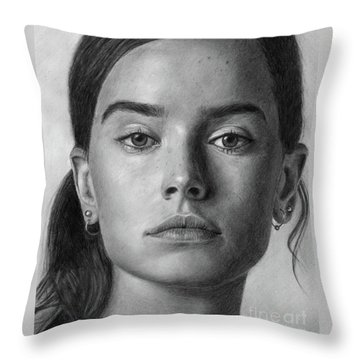 Daisy Ridley Pencil Drawing Portrait Throw Pillow