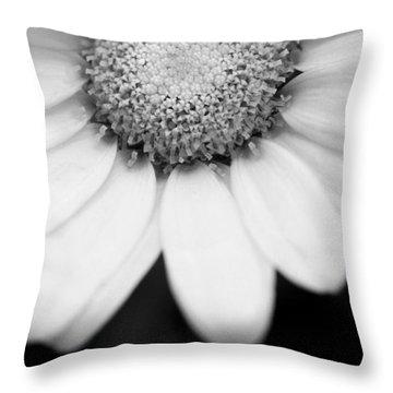 Daisy Smile - Black And White Throw Pillow