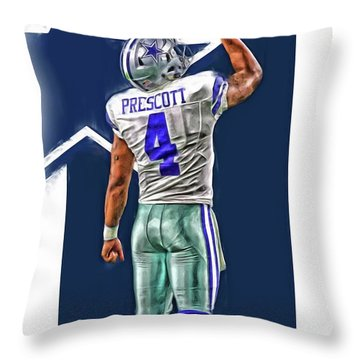 Dak Prescott Dallas Cowboys Oil Art Series 2 Throw Pillow