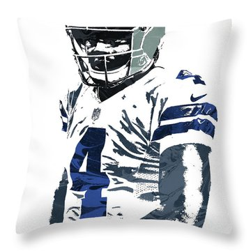Throw Pillow featuring the mixed media Dak Prescott Dallas Cowboys Pixel Art 4 by Joe Hamilton