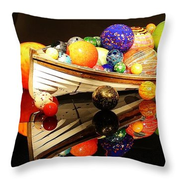 Glass Sculpture Boat Throw Pillow