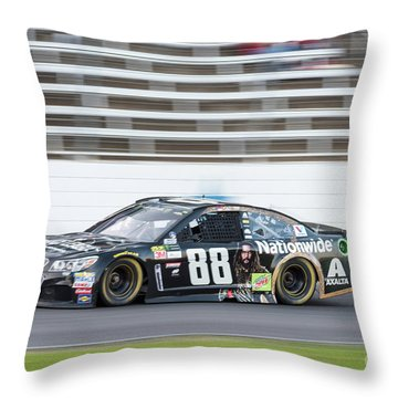 Dale Earnhardt Jr Running Hard At Texas Motor Speedway Throw Pillow