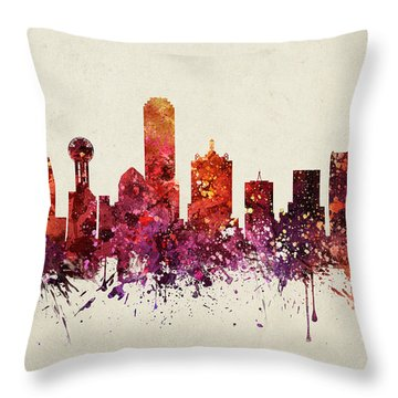 Dallas Cityscape 09 Throw Pillow by Aged Pixel