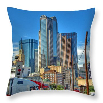 Dallas Morning Skyline Throw Pillow by Farol Tomson