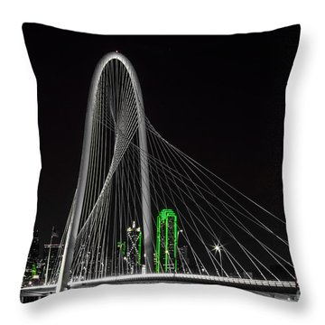 Dallas Nightscape With Green Throw Pillow by John Roberts