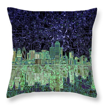 Dallas Skyline Abstract 4 Throw Pillow by Bekim Art