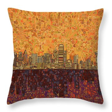 Dallas Skyline Abstract Throw Pillow by Bekim Art