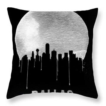 Dallas Skyline Black Throw Pillow by Naxart Studio