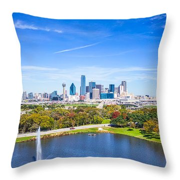 Dallas Skyline From Above Throw Pillow