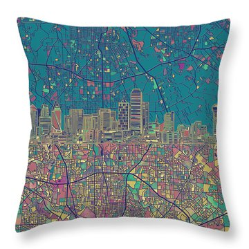 Dallas Skyline Map Green Throw Pillow