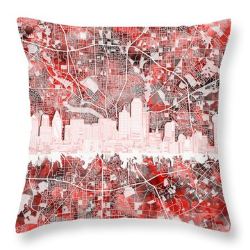 Dallas Skyline Map Red 2 Throw Pillow