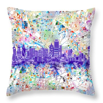 Dallas Skyline Map White 3 Throw Pillow