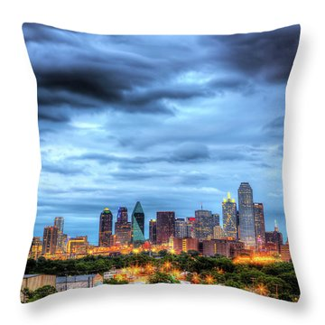 Dallas Skyline Throw Pillow by Shawn Everhart
