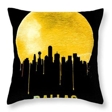 Dallas Skyline Yellow Throw Pillow by Naxart Studio