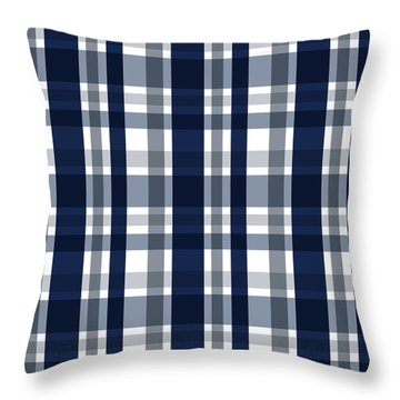 Dallas Sports Fan Navy Blue Silver Plaid Striped Throw Pillow