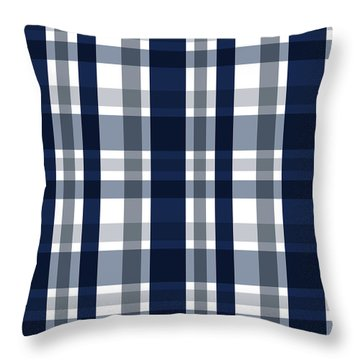 Dallas Sports Fan Navy Blue Silver Plaid Striped Throw Pillow
