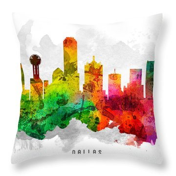 Dallas Texas Cityscape 12 Throw Pillow by Aged Pixel
