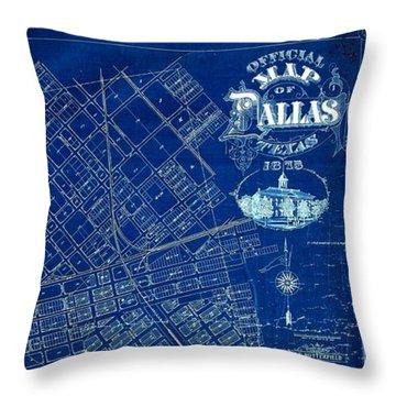 Dallas Texas Official 1875 City Map Blueprint Butterfield And Rundlett Throw Pillow