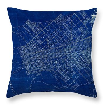 Dallas Texas Official 1875 City Map Blueprint Butterfield And Rundlett Throw Pillow