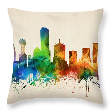 Dallas Texas Skyline 05 Throw Pillow by Aged Pixel