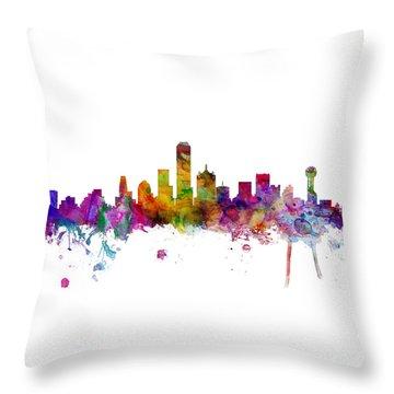 Dallas Texas Skyline Panoramic Throw Pillow