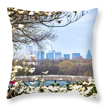 Dallas Through The Dogwood Flowers Throw Pillow by Tamyra Ayles