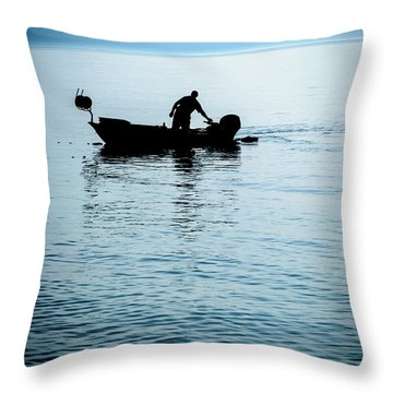 Dalmatian Coast Fisherman Silhouette, Croatia Throw Pillow