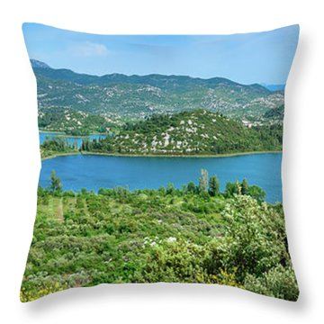 Dalmatian Coast Panorama, Dalmatia, Croatia Throw Pillow