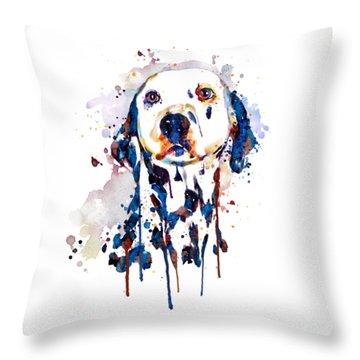 Throw Pillow featuring the mixed media Dalmatian Head by Marian Voicu