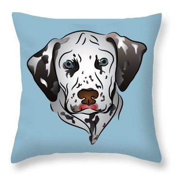 Throw Pillow featuring the digital art Dalmatian Portrait by MM Anderson