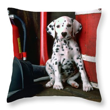 Dalmatian Puppy With Fireman's Helmet  Throw Pillow
